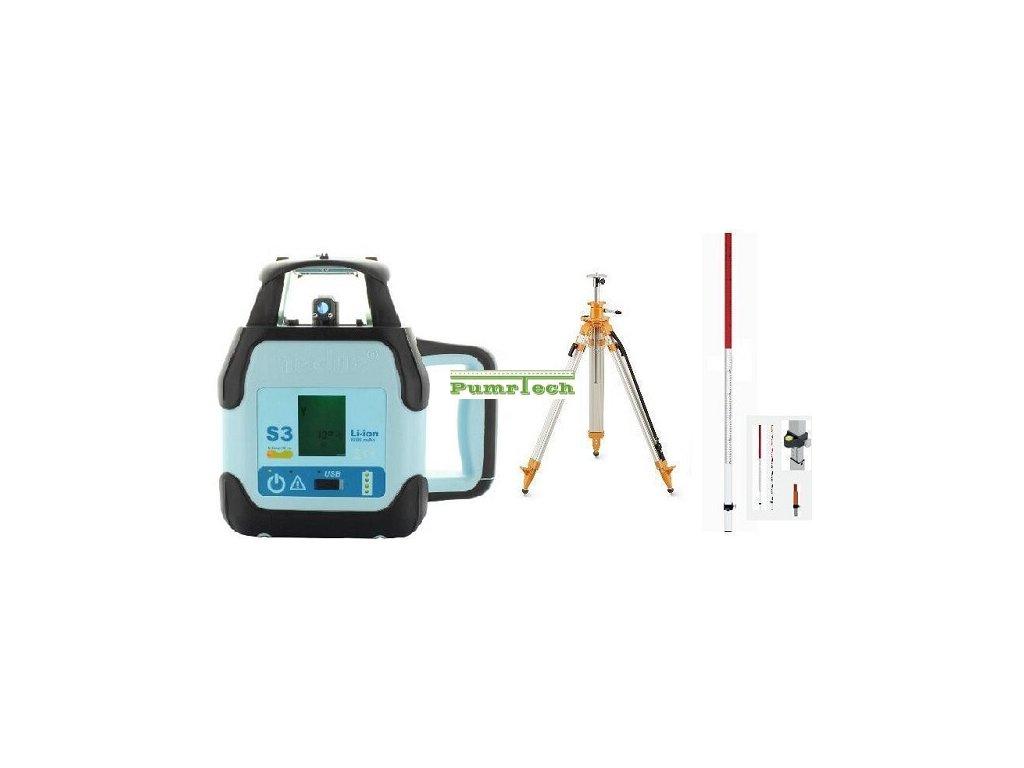 Rotační laser Hedü S3 sklonový + stativ s klikou a lať