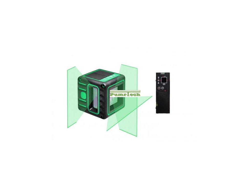 Křížový laser ADA Cube 3D Green Professional s přijímačem - zelený paprsek