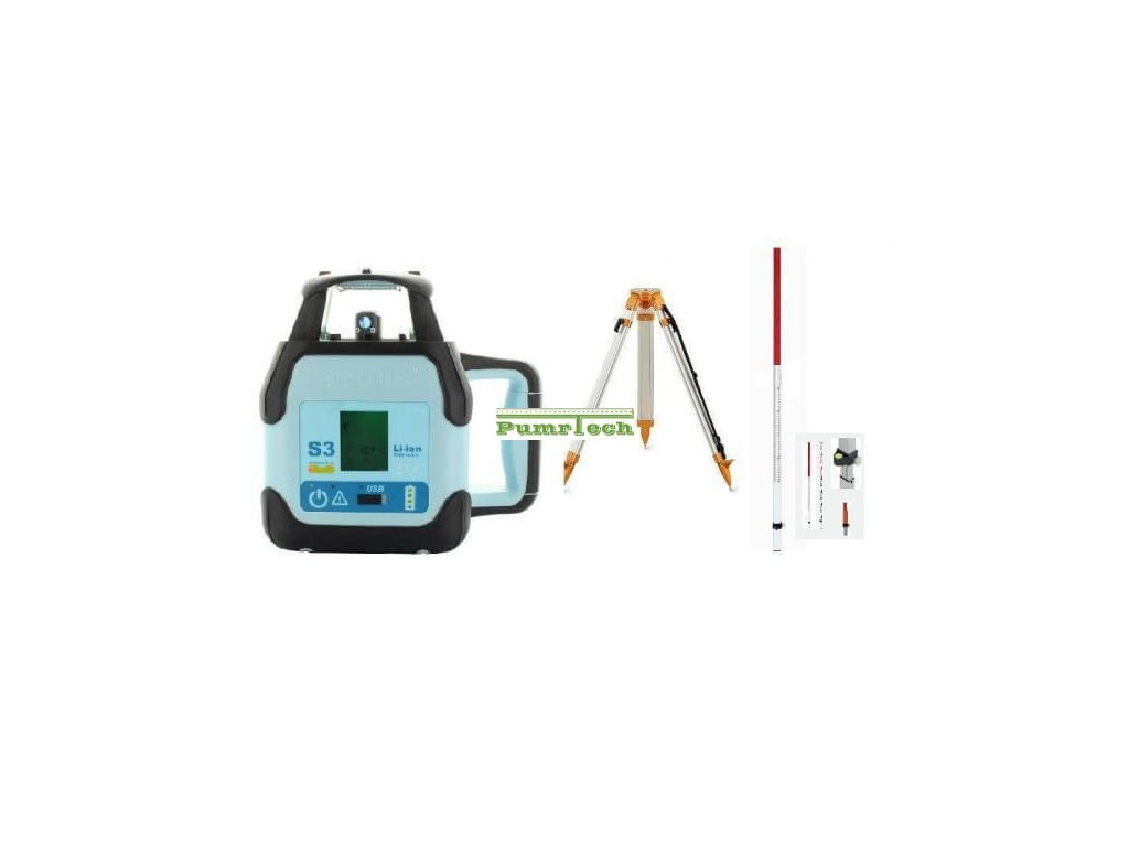Rotační laser Hedü S3+stativ a lať