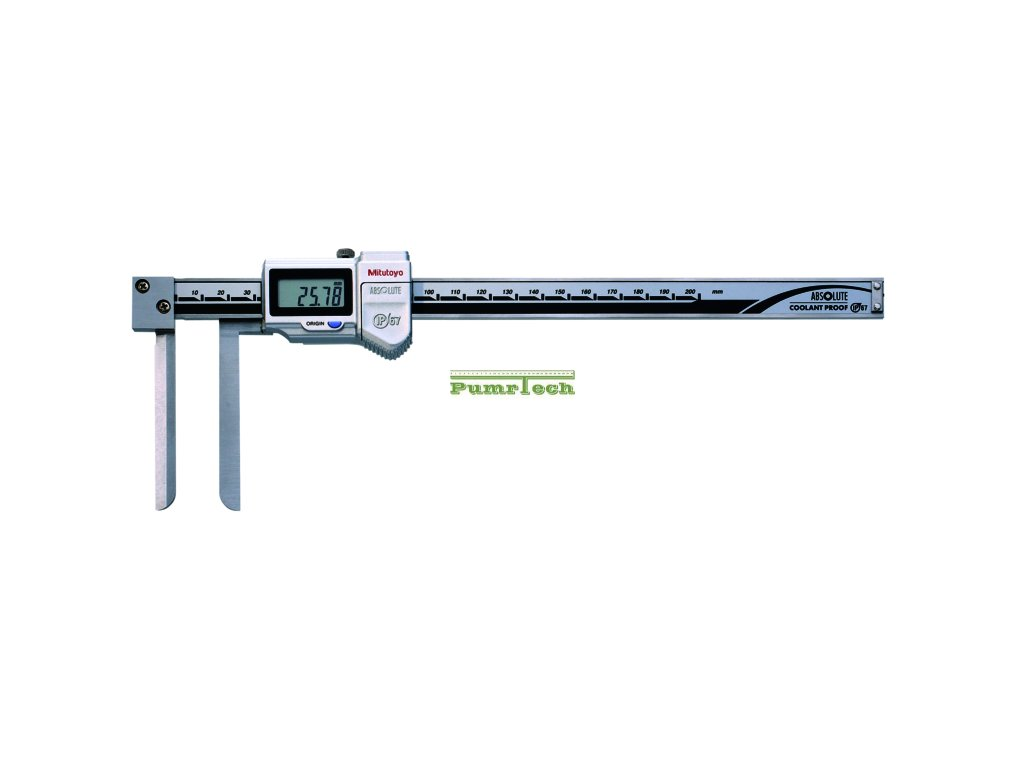digitální posuvné měřítko s dlouhými úzkými čelistmi pro vnitřní měření 10-200 mm IP67