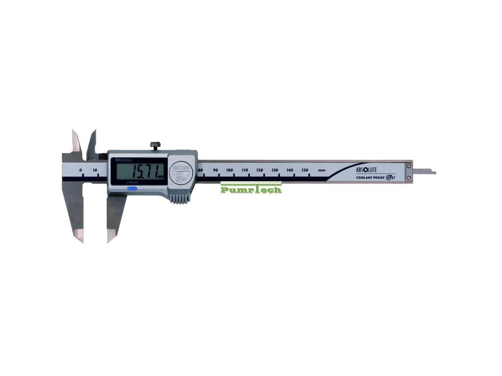 Digitální posuvné měřítko 0-150 mm, IP-67, s výstupem dat, s posuvovým kolečkem, čelisti pro vnější měření osazené tvrdokovem