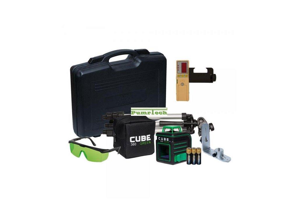 Křížový laser ADA Cube 360 Ultimate Green + přijímač