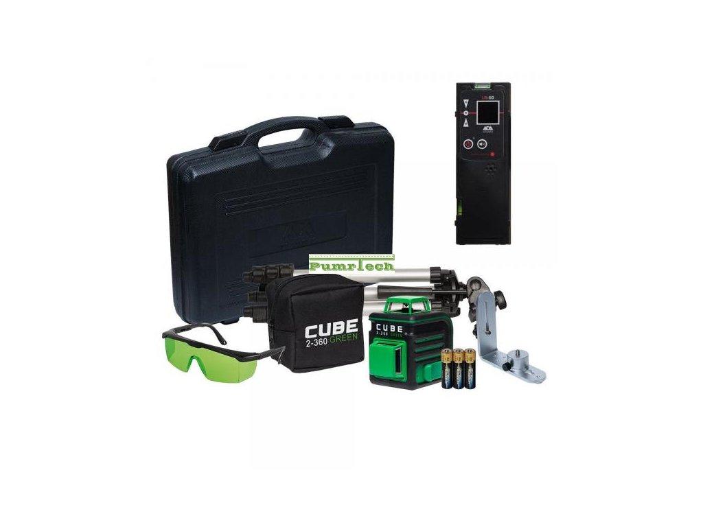 Křížový laser ADA Cube 2-360 Ultimate Green + přijímač