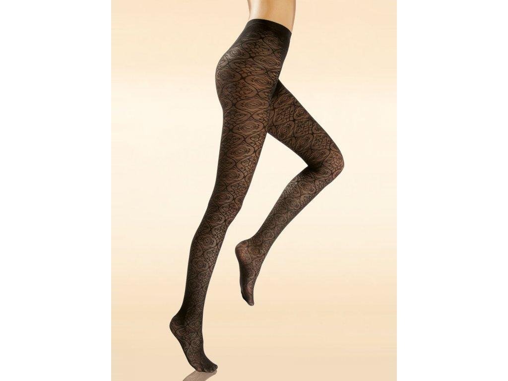 Zdravotní kompresní punčochové kalhoty krajkové - CHANTAL Lace 70 (Barva Nero, Velikost 2 - M)