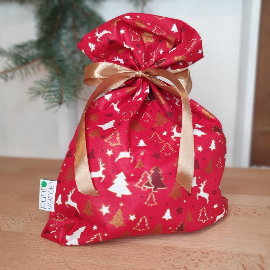 """Vánoční """"balící"""" pytlík stromky na červené"""