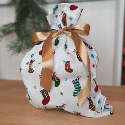 """Vánoční """"balící"""" pytlík ponožky"""