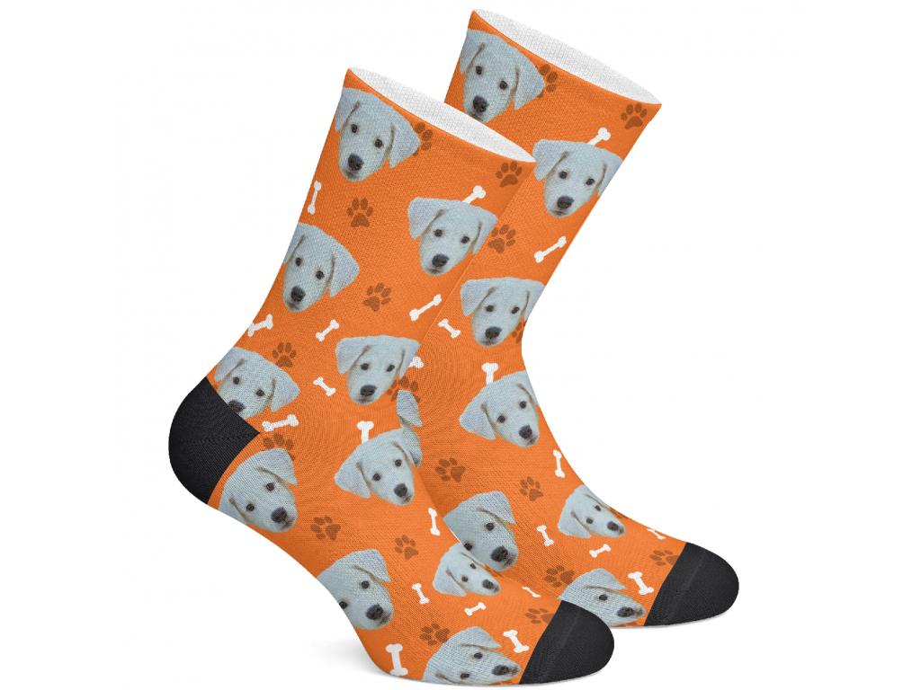 Levně PupSocks Ponožky s vlastním potiskem psa Vzor: Oranžová, Velikost: S (35-38)