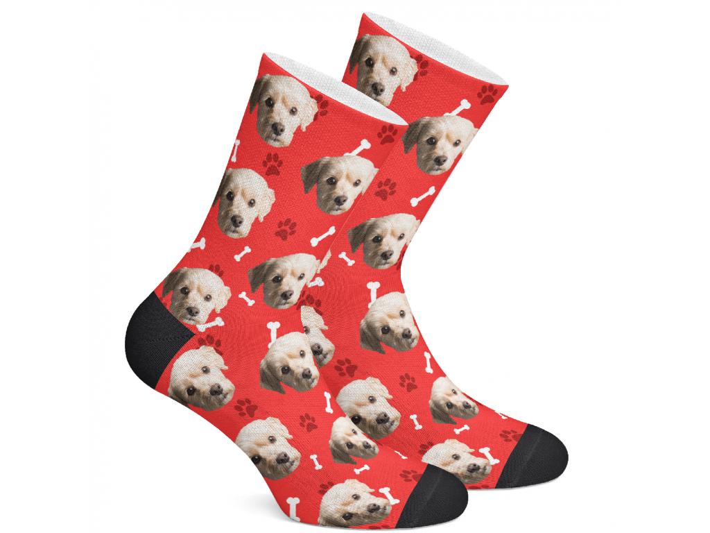 Levně PupSocks Ponožky s vlastním potiskem psa Vzor: Červená, Velikost: L (43-46)