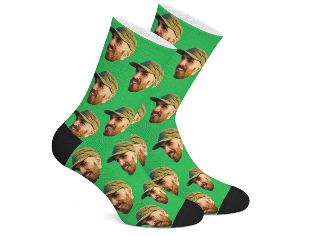 Levně FaceSocks Ponožky s vlastním potiskem obličeje Vzor: Zelená, Velikost: L (43-46)