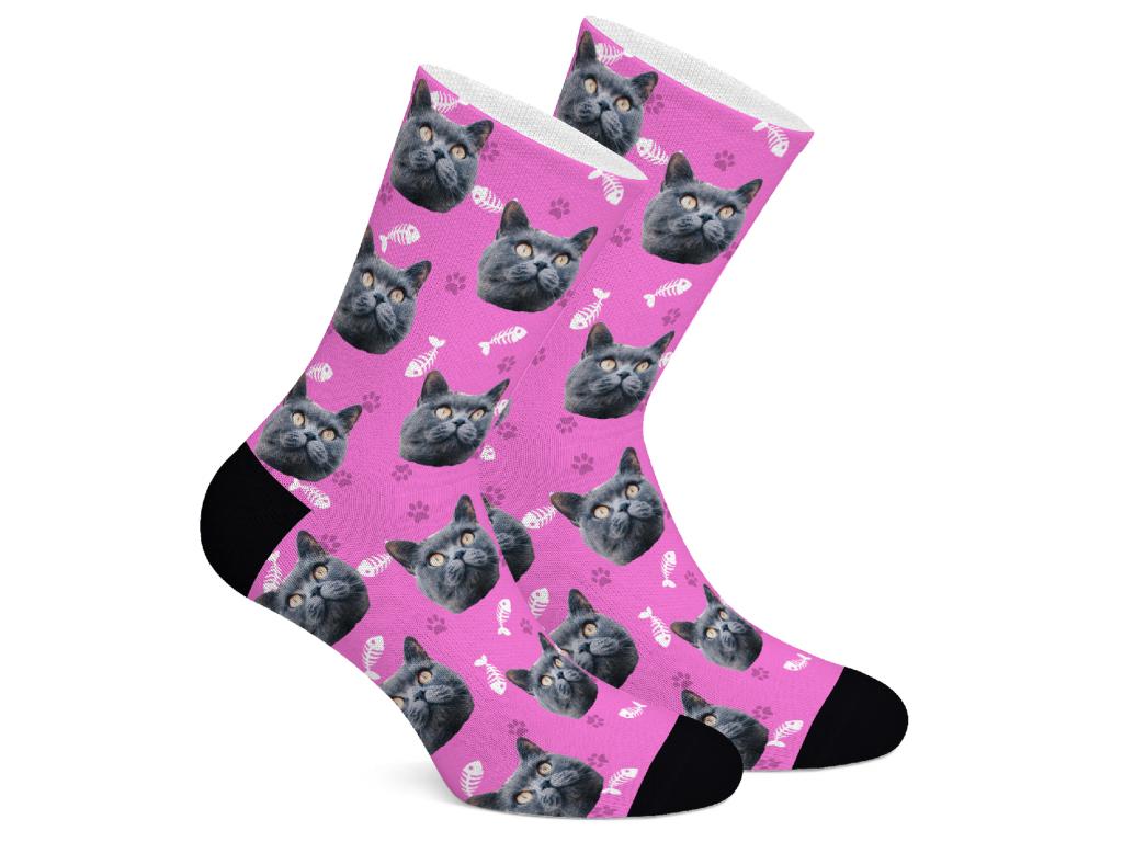 Levně CatSocks Ponožky s vlastním potiskem kočky Vzor: Růžová, Velikost: L (43-46)