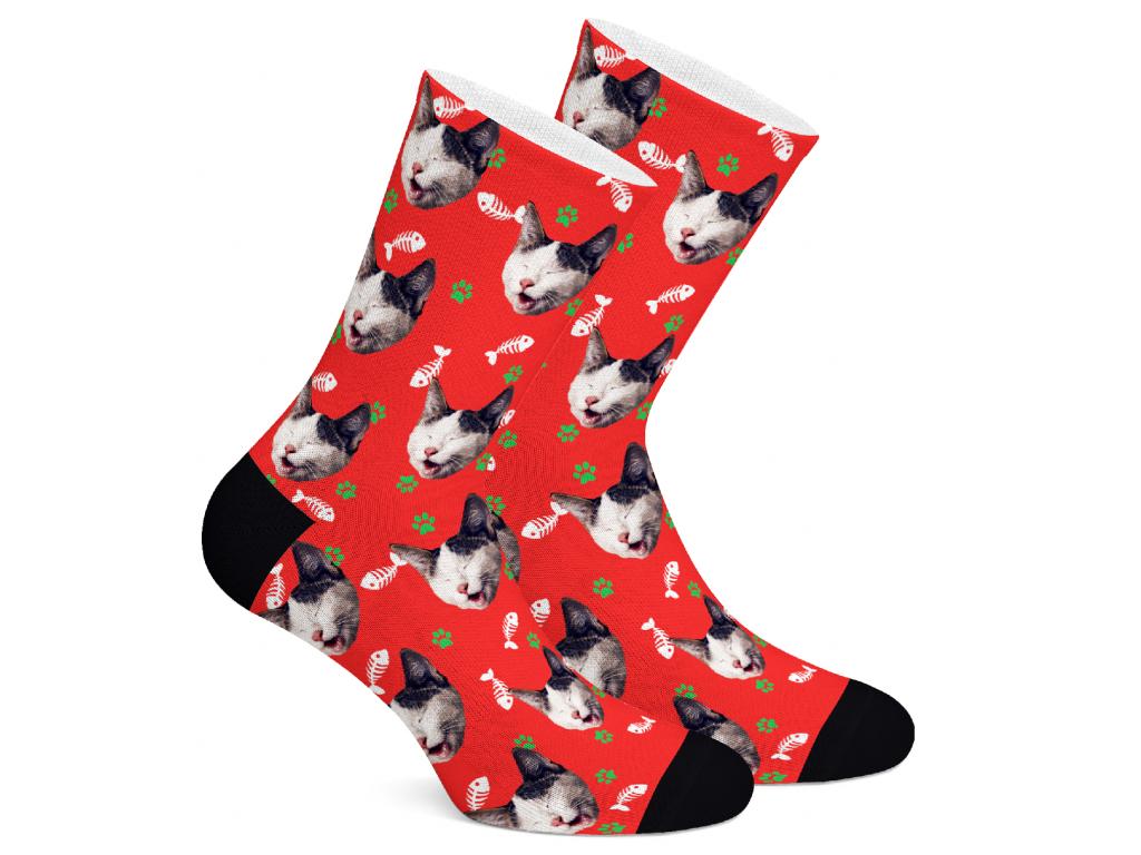 Levně PupSocks Vánoční edice Vzor: Červená kočičí, Velikost: M (39-42)