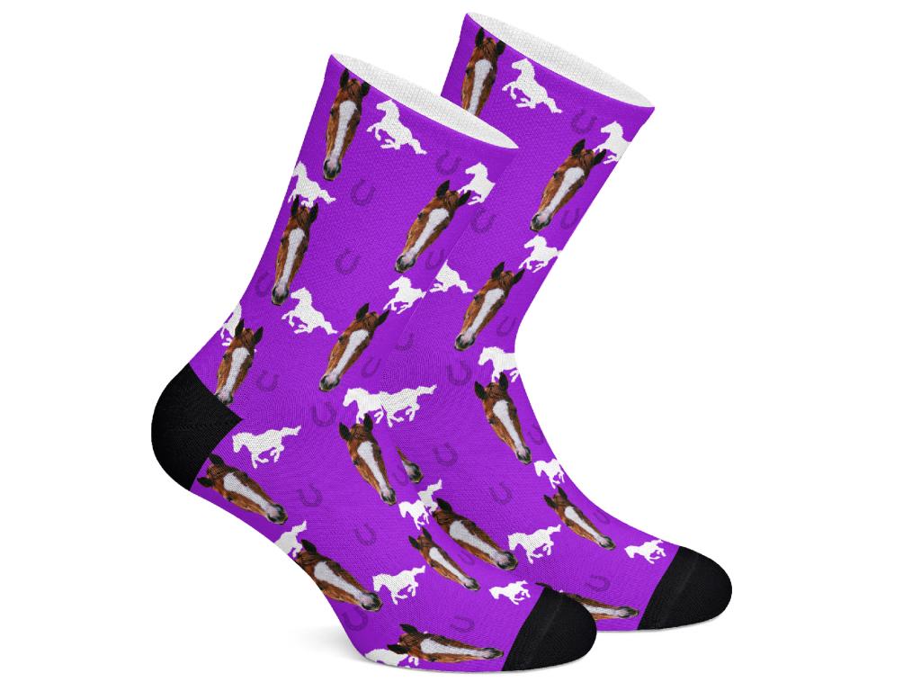 Levně HorseSocks Ponožky s potiskem koně Vzor: Fialová, Velikost: S (35-38)