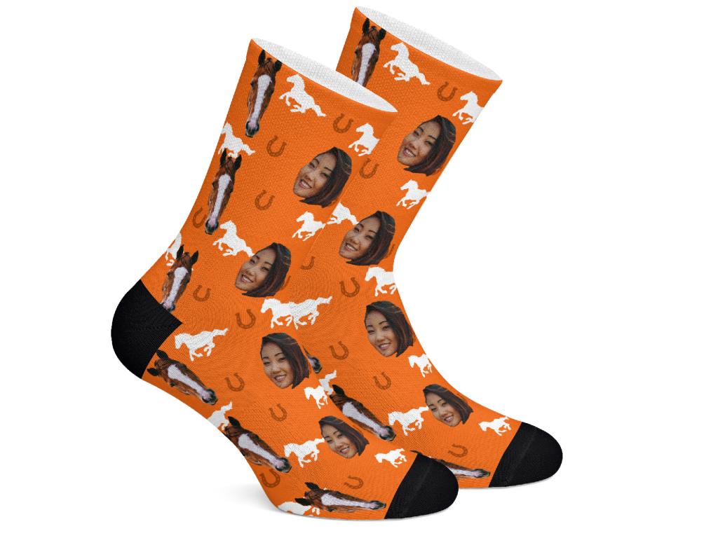 Levně HorseSocks Ponožky s potiskem koně Vzor: Oranžová, Velikost: M (39-42)