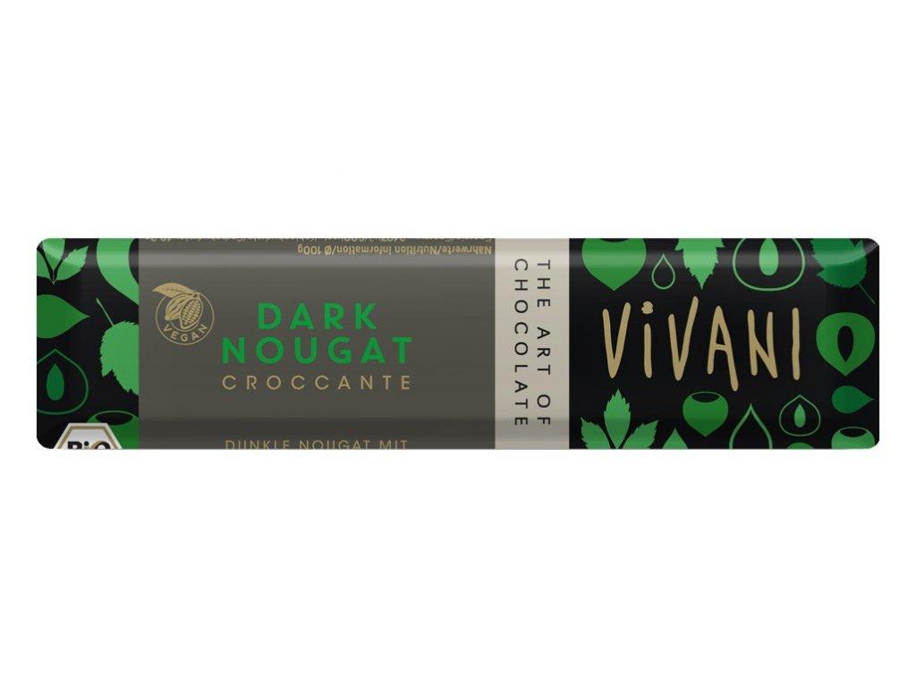 Bio tyčinka Čokoládová nugátová tmavá 35g Vivani
