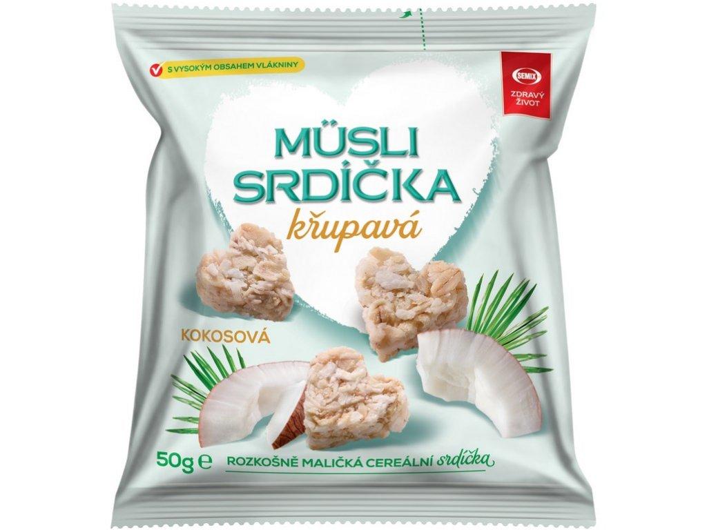 Musli srdíčka křupavá kokosová 50g Semix