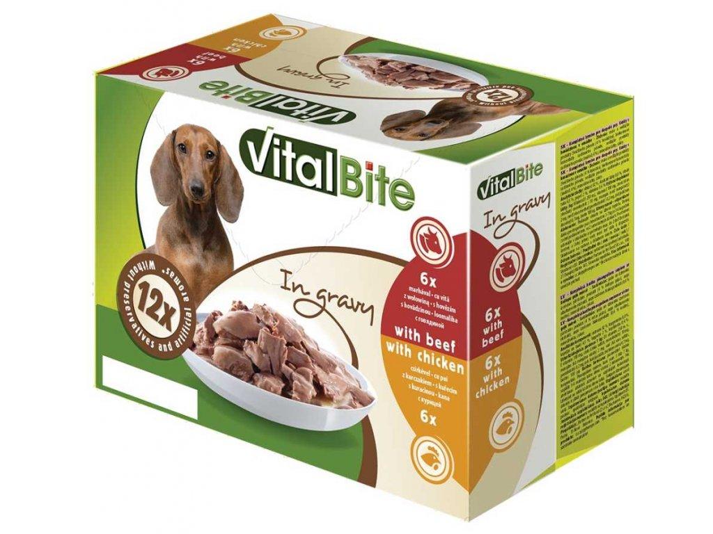 VitalBite kapsa pes 12-pack 85g hovězí+kuřecí-(Balení 4 kusů)