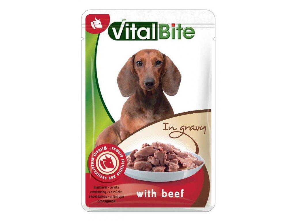 Akce VitalBite kapsa pes s hovězím ve šťávě 85g
