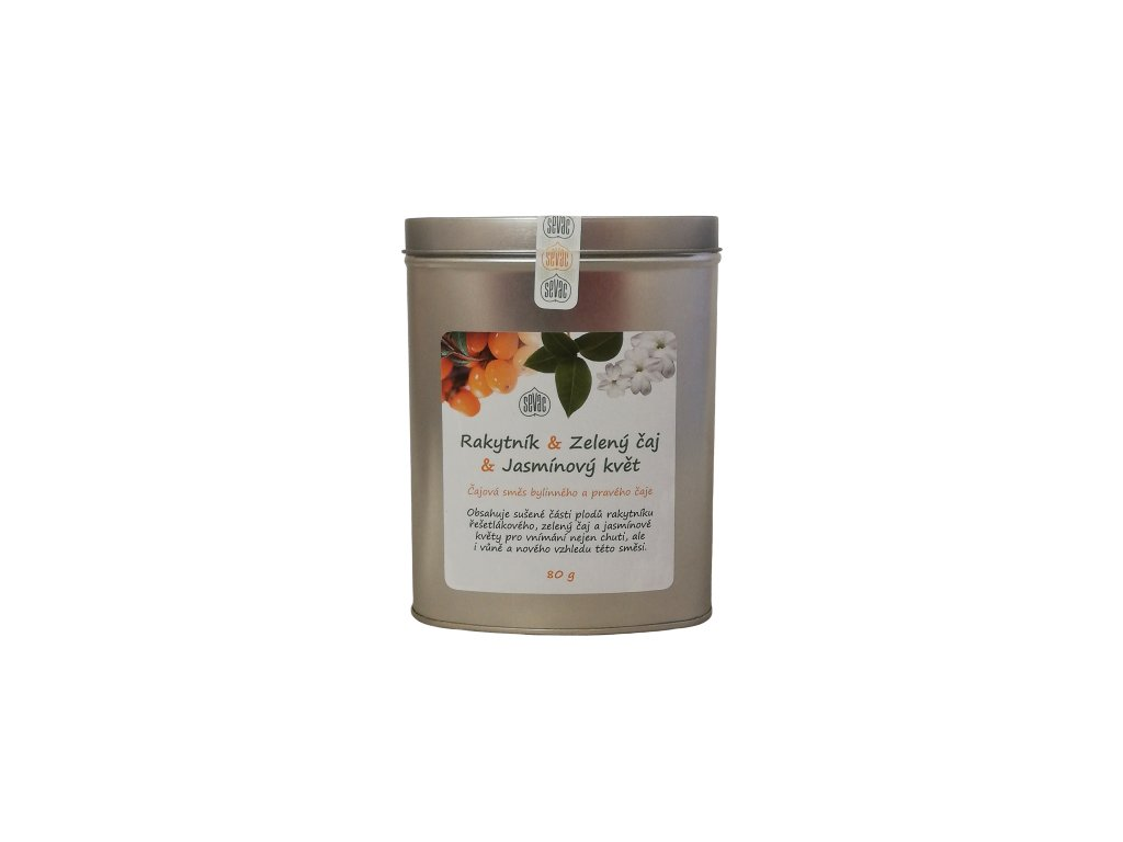 Čaj - Rakytník, zelený čaj, jasmínový květ dóza 80g SEVAK