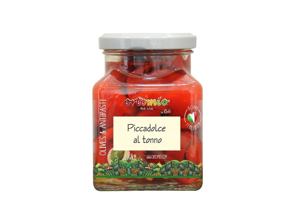 Ortomio ,,Piccadolce'' cherry papričky plněné krémem z tuňáka, 314 ml