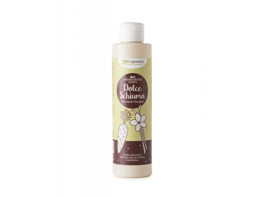 AKCE laSaponaria Jemný čisticí sprchový gel s mrkví a vanilkou BIO (200 ml)