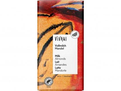 Bio Mléčná čokoláda s mandlemi 100g Vivani