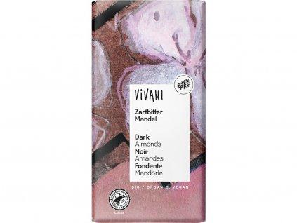Bio Hořká čokoláda s mandlemi 100g Vivani