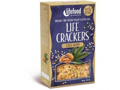 Bio Life crackers konopné s chia 90g Lifefood