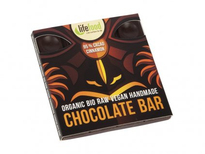 Bio čokoláda z nepraženého kakaa 95% kakao se skořicí raw 35g Lifefood