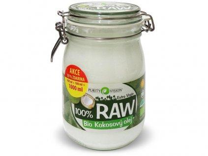 Bio 100% RAW kokosový olej ve skle 900ml+100ml Purity Vision