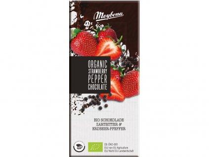 Bio Čokoláda hořká s jahodovými plátky a pepřem 52% 100g Meybona