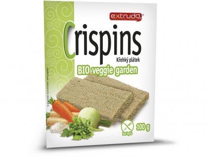 Bio Cereální křehký chléb Crispins vege garden 2x50g Extrudo