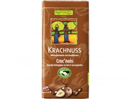 Bio fair trade mléčna čokoláda s lískovými oříšky 100g Rapunzel