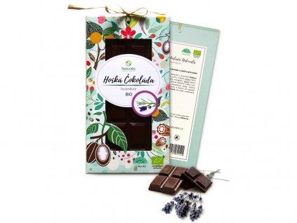 Bio čokoláda s levandulí - hořká 80g Naturalis