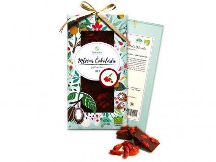 Bio čokoláda s goji berries - mléčná 80g Naturalis
