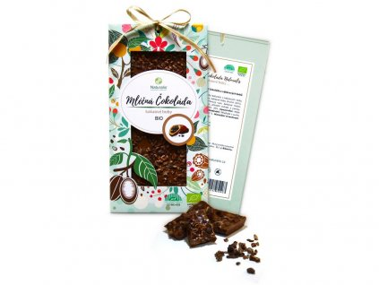 Bio čokoláda s kakaovými boby - mléčná 80g Naturalis