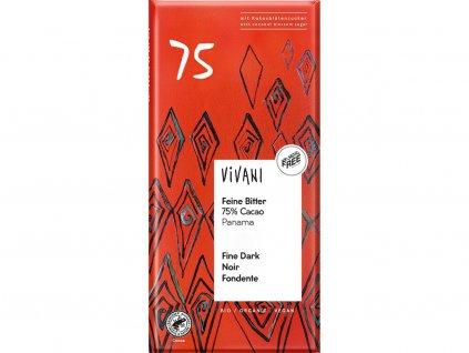 Bio hořká čokoláda 75% s kokosovým cukrem VIVANI 80 g Vivani