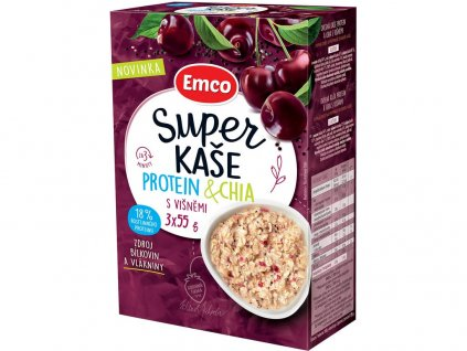 Super kaše Protein & chia s višněmi 3x55g Emco