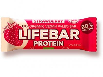 Bio tyčinka Lifebar protein jahodová 47g Lifefood