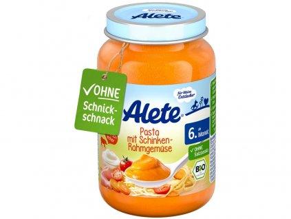 Bio příkrm - zelenina s těstovinami a vepřovou šunkou z kýty a plece 190g Allete