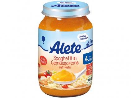Bio příkrm - špagety se zeleninovou omáčkou a krůtím masem 190g Allete