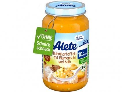 Bio přkrm - brambory na smetaně s květákem a telecím masem 220g Allete