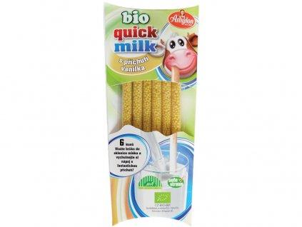 Bio Quick Milk Magická brčka do mléka s příchutí vanilka 6x6g Amylon