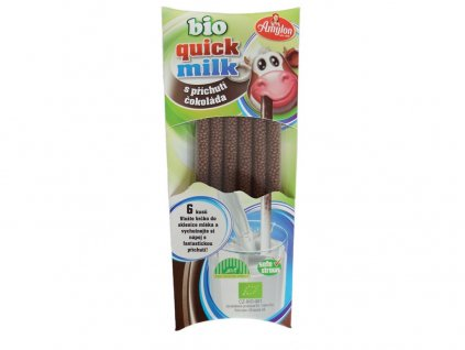 Bio Quick Milk Magická brčka do mléka s příchutí čokoláda 6x6g Amylon