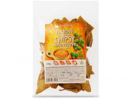 Chipsy z červené čočky s majoránkou 100g Damodara