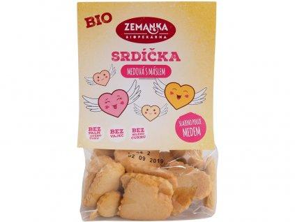 Bio medová srdíčka s máslem 100g Biopekárna Zemanka