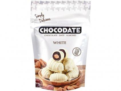 Datle s mandlí v bílé čokoládě 100g Chocodate