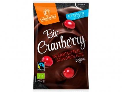 Bio Brusinky v hořké čokoládě 50g Landgarden