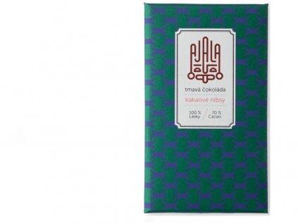 Bio čokoláda 70% kakaové nibsy výběrové boby 45g Ajala