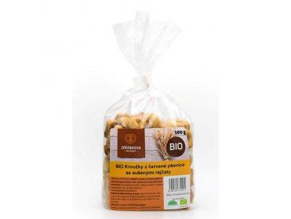 Kroužky z červené pšenice se sušenými rajčaty BIO 100 g Jeřábkova pekárna