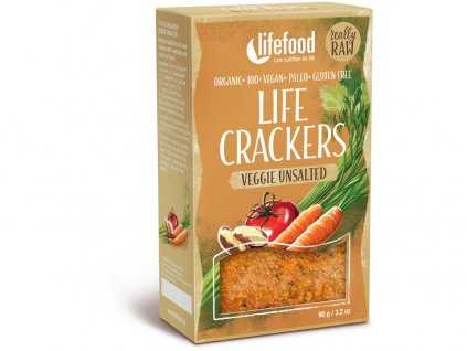 AKCE Bio Life Crackers Zeleninové bez soli RAW 90g Lifefood